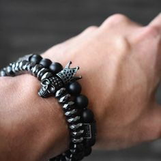 This is a cool stone bracelet for guys.