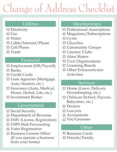 Next house Printable moving checklist. Change of address