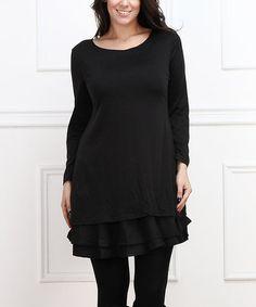 Look what I found on #zulily! Black Ruffle Scoop Neck Dress - Plus #zulilyfinds