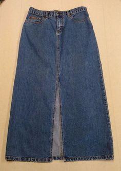 Womens Ladies EDDIE BAUER Full Length Denim Blue Jean Skirt Sz 8 Front Slit EUC #EddieBauer #FullSkirt