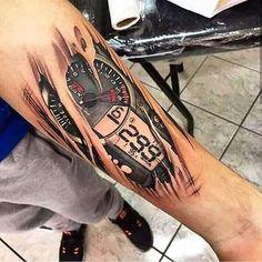 Badass tattoo 😍 - Tattos and body art - Racing Tattoos, Car Tattoos, Biker Tattoos, Motorcycle Tattoos, Neue Tattoos, Badass Tattoos, Tattoos For Guys, Motorcycle Bike, Motor Tattoo
