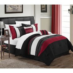 Freshen up your bedding with the Striped Red and Black Queen Comforter Set. Visit your local At Home store to purchase and find other affordable Comforters & Comforter Sets. Queen Comforter Sets, Bedding Sets, Crib Bedding, White Bedding, Pottery Barn, Ikea, Hotel Collection Bedding, Shabby, White Sheets
