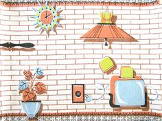 Vintage Atomic Tablecloth Appliances by NeatoKeen on Etsy, $84.00