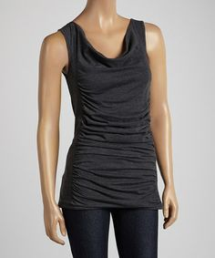 Charcoal Mix Drape Tank by Pure and Simple #zulily #zulilyfinds