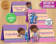 Doc McStuffins Table Tents INSTANT DOWNLOAD por ColorPrintsShoppe