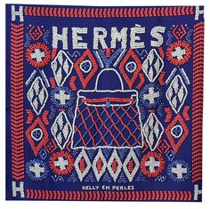 Fabulous Huge Hermes Kelly en Perles Silk Shawl | From a collection of rare vintage scarves at https://www.1stdibs.com/fashion/accessories/scarves/