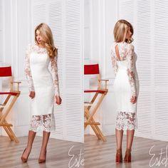 Свадебное платье футляр из кружева