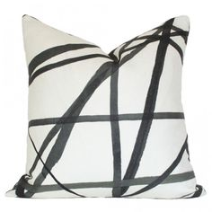Get two of these pillows and intermix with some other pillows in blues and yellows on your couch : Channels Ebony & Ivory : Pillow for couch