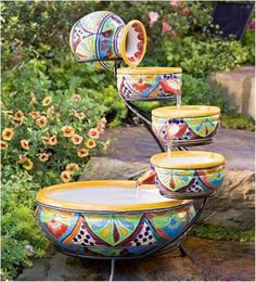 Outdoor Ceramic Solar Fountain…..Your Own Garden Waterfall - Find Fun Art Projects to Do at Home and Arts and Crafts Ideas