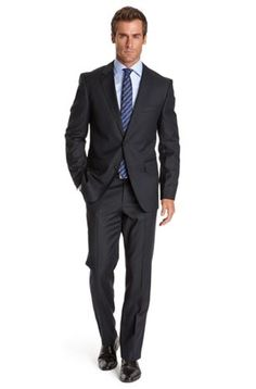 Great navy suit with slim fit from Hugo Boss. Excited being asked to model suits like these just for walking in the store!