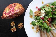 Granatapfel-Salat mit karamellisierten Birnen #Granatapfel #granatapfelsalat #karamell #birnen