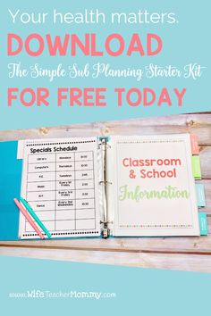 Teachers - your health matters. Download the FREE Simple Sub Planning Starter Kit to get your sub binder or sub tub put together now. We've got everything you need to prep for those emergency sick days so you can focus on taking care of yourself instead of planning for a substitute. Lesson plans are included for pre-k, kindergarten, 1st, 2nd, 3rd, 4th, 5th, and 6th grade. Our resources are perfect for sick days, maternity leave, or long term leave! Sign up to download now! Sub Binder, Substitute Binder, Sub Plans Template, Emergency Sub Plans, Elementary Teacher, Health Matters, Starter Kit, Lesson Plans, Tub