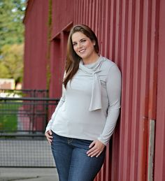 "grey necktie bow blouse, jeans and I would add grey boots or grey heels. <3  ""if you like my curvy girl's fall/winter closet, make sure to check out my curvy girl's spring/summer closet.""   http://pinterest.com/blessedmommyd/curvy-girls-springsummer-closet/pins/"