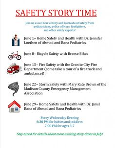Safety Storytime Every Wednesday in June and July 6:30 PM Babies and Toddlers 7:00 PM Ages 3-7 Training & Events Room, Downtown Library, 2001 Delmar Avenue Questions? Call 452-6238 ext 3.