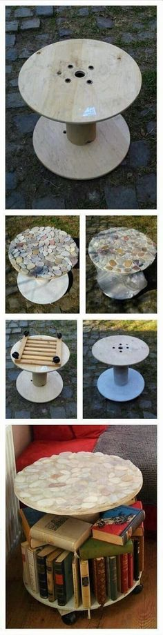 Make a table by recycling spool  If you have an old  big spool you can make use of it. Take one of the sides as a top and  decorate it...