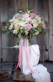 Spring Bouquet - yummy-smelling flower Hyacinth would be included in the arrangement. I love the mix of pale pinks, creams, and whites with a fun pop of hot pink from the ranunculus —