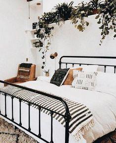 Home Interior Bohemian Bedroom greenery inspiration.Home Interior Bohemian Bedroom greenery inspiration Room Ideas Bedroom, Dream Bedroom, Bedroom Designs, Bedroom Inspo, Linen Bedroom, Bedroom Furniture, Bedroom Bed, Bedroom Inspiration, Bedroom Shelves