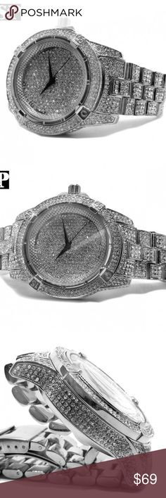 White Gold Plated Iced Out Bling Quavo Metal Watch Brand : Techno Pave 100% brand new Finish: White Gold Plated CZ Stones on Bracelet Stainless Steel Back Movement: Quartz Japan Battery included. Case Size : 48mm (Diameter) Weight: 157 grams Lock: Fold Over  Gender: Men's Removable Links (Adjustable) Luxury style Accessories Watches