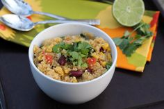 Spicy Quinoa with Kidney Beans, Corn and Lime via One Dish Dinners