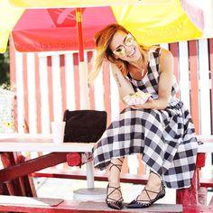 Black and White Check Crop Top + Midi Skirt | via MKSportsanista