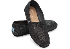 Black Glitter Wool Women's Classics | TOMS