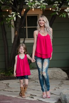 Mommy and Me Ruffle Back Chiffon Tank Fuchsia - Ryleigh Rue Clothing by Modern Vintage Boutique