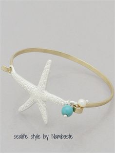 Siver-gold-mint Starfish bracelet by NAMBASTE on Etsy