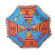 Indian Colorful Handmade Embroidery Work Cotton Umbrella Parasol For Christmas #Handmade #Parasol