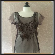 NEW Bead Sheer Camisole Top Brown Blouse Large Sheer Beads Embroidered Camisole Top by Kamiseta Brown Blouse Large Short Sleeve 100% Nylon New with Tag Trades Kamiseta Tops Camisoles
