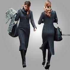Длинное вязаное платье спицами. Модное платье из кос спицами