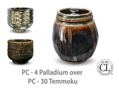 AMACO Potter's Choice layered glazes PC-30 Temmoku and PC-4 Palladium.