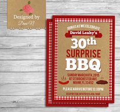 Adult Birthday INVITATION, BBQ surprise 30th birthday invite, 40th, 50th  any age birthday barbecue party, the grill surprise party, summer by DesignedbyDaniN on Etsy https://www.etsy.com/listing/233629933/adult-birthday-invitation-bbq-surprise