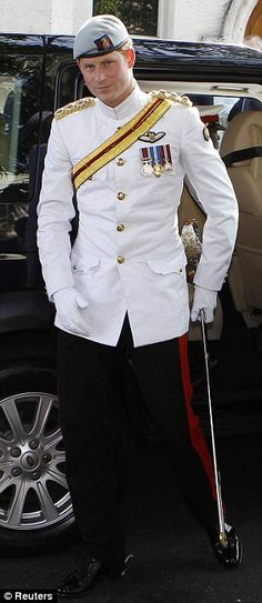 3/5/12: Tour of the Bahamas - Prince Harry, 27, was greeted by cheers and screams as he conducted his first engagement wearing the No. 1 Tropical Dress of The Blues and Royals, the first time that he has worn the uniform in public.