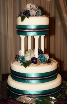 Teal and plum 3 layer wedding cake.