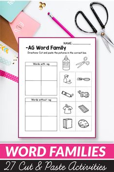 CVC Word Families Worksheets - Cut and Paste Worksheets 1st Grade Activities, Phonics Activities, Classroom Activities, Easter Activities, Learning Activities, Teaching Ideas, Cvc Words, Reading Resources