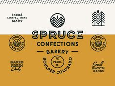 Vintage Graphic Design Spruce by Jacob Boyles Typography Logo, Graphic Design Typography, Lettering, Hipster Graphic Design, Bakery Branding, Logo Branding, Corporate Branding, Logo Inspiration, Brand Identity Design