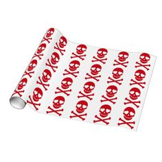 Shop Skulls and Crossbones with Hearts Wrapping Paper created by TheGraphicsCreative. Skull And Crossbones, Custom Wrapping Paper, Skulls, Hearts, Gift Wrapping, Notes, Create, Prints, Red