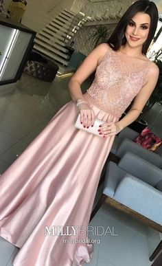 Long Prom Dresses Pink, Lace Formal Dresses for Teens, A-line Military Ball Dresses Elegant, Sexy Pageant Graduation Party Dresses Satin #MillyBridal #pinkpromdresses #formaldressesforteens #graduationdress
