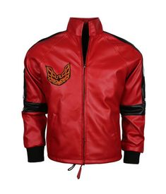 This is a beautiful red leather jacket for men inspired from the movie Smokey and the Bandit, worn by Burt Reynolds. The jacket has beautiful logo at the front and patches on the shoulders and sleeves make this jacket wonderful. One attraction of this red jacket lies in the use of black stripe on the sleeves and the cuffs. It is made of soft and shiny leather and keeps you comfortable all the time.