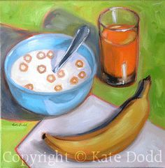 Original Oil Painting - O hOw I lOve CheeriOs in the MOrning. $97.00, via Etsy.