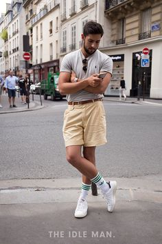 Men's Street Style | Tuck It In - Smarten up your shorts and t-shirt by tucking them in and finishing with a belt. | Shop the look at The Idle Man