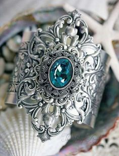 Jewel of the Sea Cuff Jewel Of The Seas, Victorian Fashion, Swarovski, Gemstone Rings, Silver Rings, Teal, Sparkle, Jewels, Sterling Silver