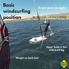 The basic #windsurfing position. Front arm straight. Weight on back foot. Body straight.