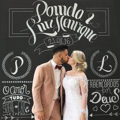Painel Blackboard para Casamento.  #noivas #bride #decoraçãodecasamento #decor #decoração  Foto: Thalita Santos Photography