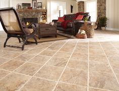 This walnut glazed porcelain tile floor is easy to install and extremely durable.