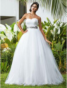 Lanting Ball Gown Petite / Plus Sizes Wedding Dress - Ivory Floor-length Sweetheart Tulle 2016 - $129.99