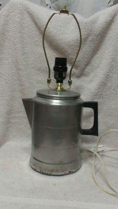Vintage Repurposed Aluminum Coffee Pot Lamp   eBay