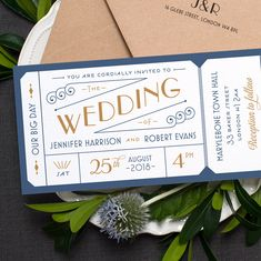 Formal Admission Ticket Wedding Invitation / 'Just the Ticket' Art Deco 1920s Wedding Invite / Navy Blue Gold / Custom Colours / ONE SAMPLE by twoforjoypaper on Etsy https://www.etsy.com/uk/listing/221844438/formal-admission-ticket-wedding
