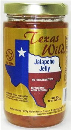 TWO Jars Texas Wild Jalapeno Pepper Jelly-Texas Wild jellies have a taste as big as Texas. This Jalapeno jelly has just the right amount of heat and is great as a glaze or used on your biscuits. Serve on top of cream cheese for a party appetizer or just enjoy! $13.98 #treasurejourneys (2)10 oz. jars Go Texan Product No Preservatives