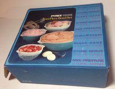 Vintage Set of Pyrex Blue Horizon Art Deco Cinderella Nesting Bowls New In Box!! #Pyrex